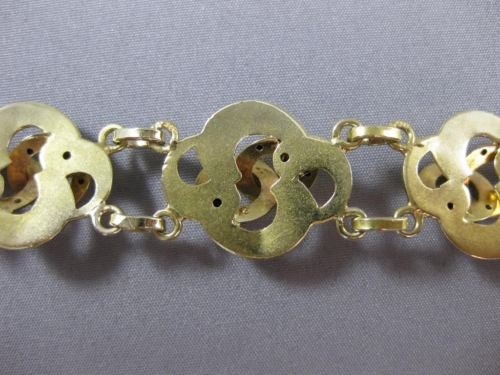 ANITQUE WIDE 14KT YELLOW GOLD HANDCRAFTED INTERTWINED 3D BRACELET AMAZING #22584
