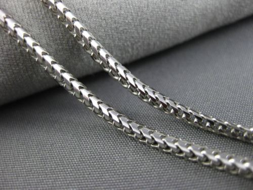 ESTATE 14KT WHITE GOLD HANDCRAFTED CLASSIC 2mm ITALIAN LOBSTER LOCK CHAIN #25780