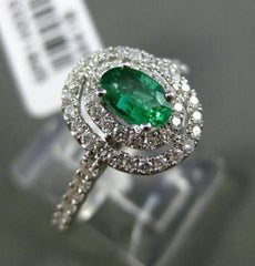 ESTATE WIDE .78CT DIAMOND & EMERALD 18KT WHITE GOLD 3D OVAL HALO ENGAGEMENT RING