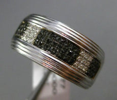 ESTATE WIDE .22CT WHITE & BLACK DIAMOND 14K WHITE BLACK GOLD MULTI ROW MENS RING