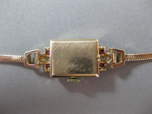 ANTIQUE .35CT OLD MINE DIAMOND & RUBY 14KT WHITE & ROSE GOLD MIDO WATCH #19849