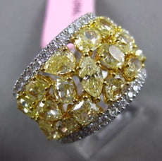 ESTATE LARGE 5.38CT FANCY YELLOW DIAMOND 18KT GOLD MULTI SHAPE ANNIVERSARY RING