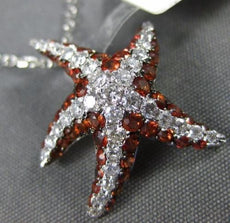 LARGE 1.24CT DIAMOND & AAA ORANGE SAPPHIRE 14KT WHITE GOLD 3D STAR FISH PENDANT