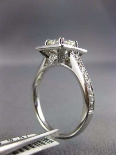 GIA 1.48CT ROUND & ASSCHER DIAMOND 14K WHITE GOLD 3D HALO SQUARE ENGAGEMENT RING
