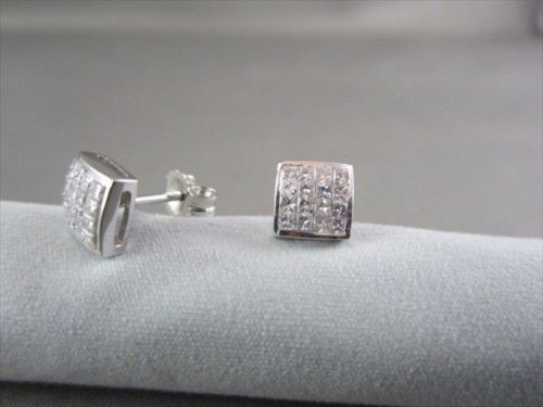 ESTATE 14KT GOLD .50CT PRINCESS DIAMOND STUD EARRINGS F-G VS SIMPLY THE BEST!