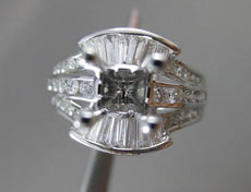 ESTATE WIDE .85CT DIAMOND 18KT WHITE GOLD ROUND SEMI MOUNT ENGAGEMENT RING #2871