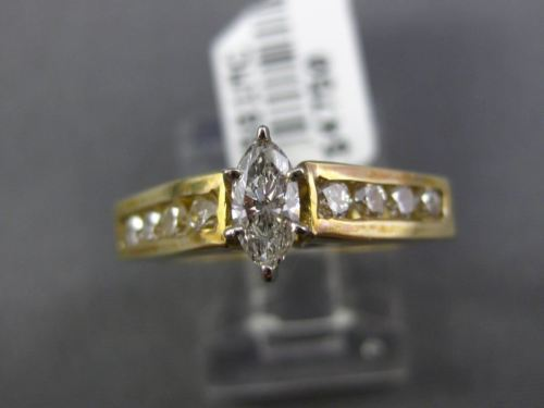 ESTATE .43CT ROUND & MARQUISE DIAMOND 14K YELLOW GOLD 3D CLASSIC ENGAGEMENT RING