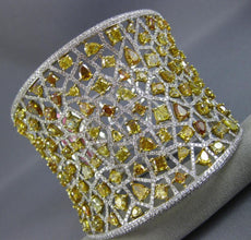 EXTRA LARGE 29.17CT WHITE & FANCY YELLOW DIAMOND 18K 2 TONE GOLD BANGLE BRACELET