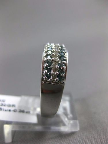 WIDE .56CT WHITE & BLUE DIAMOND 14K WHITE GOLD 3D 3 ROW WEDDING ANNIVERSARY RING