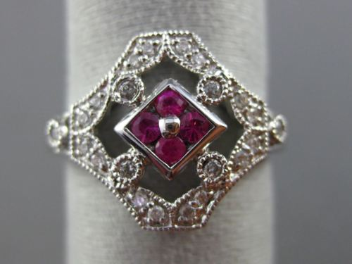 ESTATE WIDE .51CT DIAMOND & AAA RUBY 14KT WHITE GOLD OPEN ROUND HEXAGON FUN RING