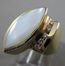 ESTATE LARGE .16CT DIAMOND & MOTHER OF PEARL 14KT WHITE GOLD MARQUISE SHAPE RING