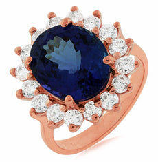 ESTATE 7.55CT DIAMOND & AAA TANZANITE 14K ROSE GOLD OVAL CLASSIC ENGAGEMENT RING