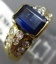 1.81CT DIAMOND & AAA SAPPHIRE 18KT YELLOW GOLD 3D ETOILE ENGAGEMENT RING #2021