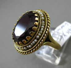 ANTIQUE EXTRA LARGE .15CT GARNET & PEARL 14KT YELLOW GOLD CIRCULAR FILIGREE RING