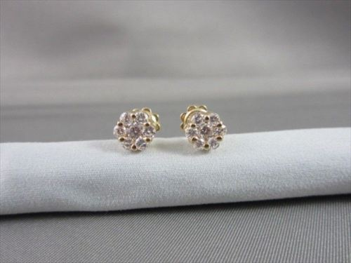 ANTIQUE 1.14 CTW FLOWER STUD 14KT YELLOW GOLD EARRINGS F/G VS BEAUTIFUL!! #21802