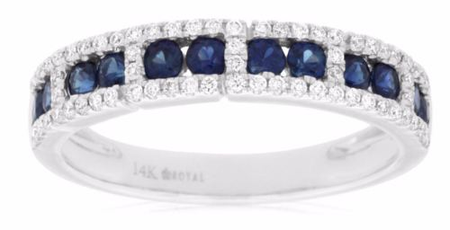 ESTATE .80CT DIAMOND & AAA SAPPHIRE 14KT WHITE GOLD 3D WEDDING ANNIVERSARY RING