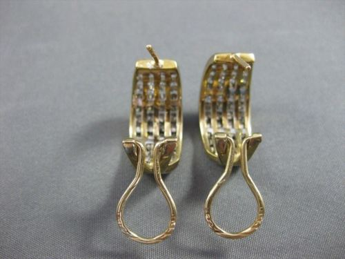 ESTATE WIDE 3.0CT FANCY DIAMOND 14KT TWO TONE GOLD 4 ROW HUGGIE EARRINGS #21295