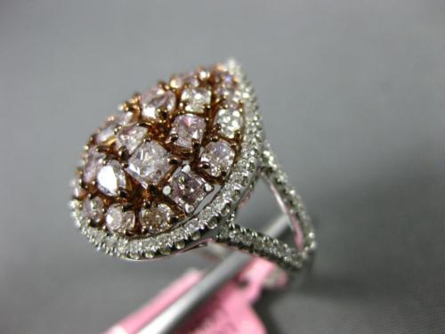 GIA CERTIFIED LARGE 2.73CT WHITE & PINK DIAMOND 18K ROSE GOLD 3D PEAR SHAPE RING