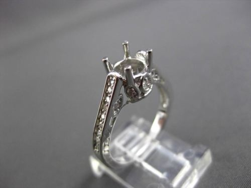 ANTIQUE .46CT DIAMOND 14K WHITE GOLD FILIGREE SEMI MOUNT ENGAGEMENT RING #12029