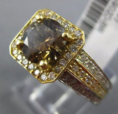 LARGE 2.54CT WHITE & CHOCOLATE FANCY DIAMOND 18KT TWO TONE GOLD ENGAGEMENT RING