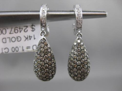 ESTATE 1.0CT WHITE & YELLOW DIAMOND 14KT WHITE GOLD PEAR SHAPE HANGING EARRINGS