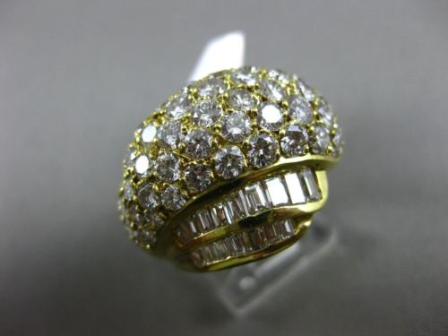LARGE 4.50CT ROUND & BAGUETTE DIAMOND 18KT YELLOW GOLD 3D DOME PAVE RING E/F 797