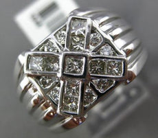ESTATE WIDE .86CT ROUND & PRINCESS DIAMOND 14K WHITE GOLD HANDCRAFTED MENS RING