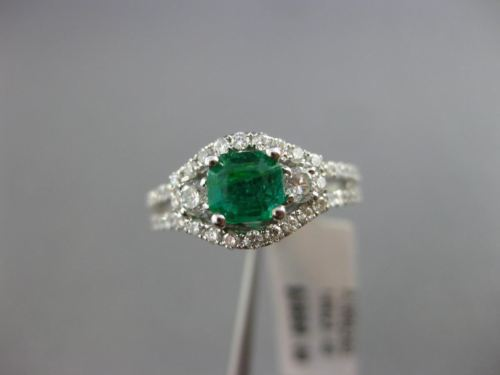 ESTATE 1.22CT DIAMOND & AAA EMERALD 14KT WHITE GOLD HALO SQUARE ENGAGEMENT RING