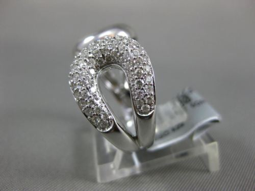 ESTATE WIDE .58CT DIAMOND 14KT WHITE & ROSE GOLD 3D PAVE LOVE KNOT FUN RING