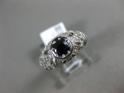 .76CT DIAMOND & AAA ROUND SAPPHIRE 14KT WHITE GOLD OPEN FILIGREE ENGAGEMENT RING
