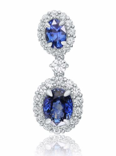 GIA CERTIFIED 7.25CT DIAMOND & AAA SAPPHIRE 18K WHITE GOLD HALO HANGING EARRINGS