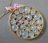 ESTATE LARGE 8.26CT DIAMOND & BLUE QUARTZ 14K YELLOW GOLD LUCKY CIRCULAR PENDANT