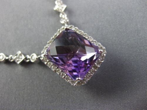 LARGE 7.10CT DIAMOND & AAA AMETHYST 14K WHITE GOLD FILIGREE BY THE YARD NECKLACE