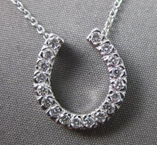 ESTATE LARGE .27CT DIAMOND 14KT WHITE GOLD PAVE HORSE SHOE NECKLACE #22236