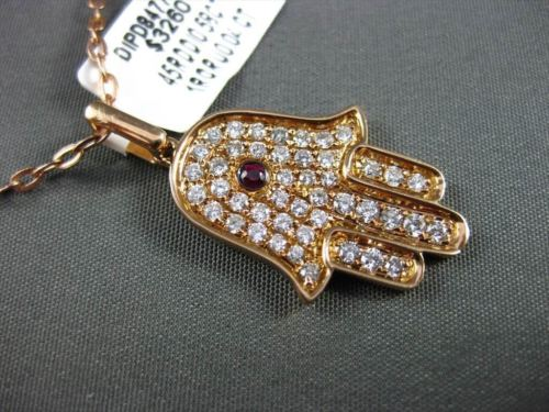 ANTIQUE .62CT DIAMOND & AAA RUBY 18K ROSE GOLD FLOATING HAMSA LUCKY HAND PENDANT
