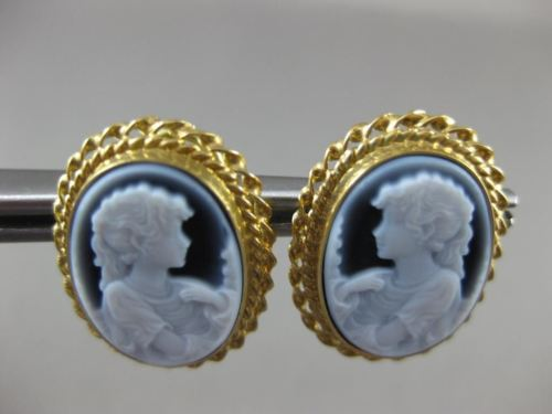 ANTIQUE 18KT YELLOW GOLD OVAL HANDCRAFTED LADY BLUE CAMEO EARRINGS UNIQUE #18785