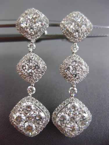 ESTATE 2.60CT DIAMOND 14KT WHITE GOLD 3D SQUARE ETOILE FILIGREE HANGING EARRINGS