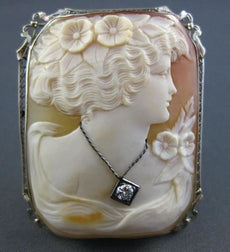 ANTIQUE LARGE .08CT DIAMOND 14K WHITE GOLD FILIGREE LADY CAMEO BROOCH PIN #22063