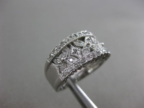 ESTATE WIDE .36CT DIAMOND 14KT WHITE GOLD 3D FILIGREE BUTTERFLY ANNIVERSARY RING