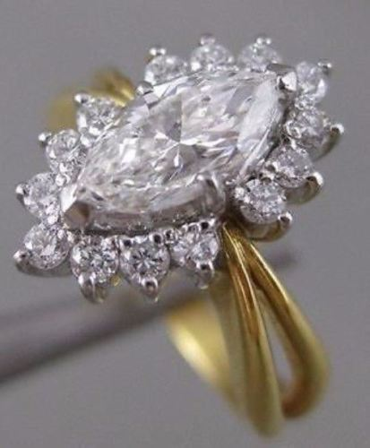 ESTATE 1.18CTW MARQUISE DIAMOND 18KT WHITE & YELLOW GOLD ENGAGEMENT RING #15282
