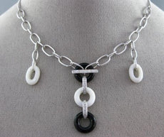 ESTATE .11CT DIAMOND ONYX & WHITE AGATE 18K WHITE GOLD 3D CIRCLE OF LIFE PENDANT