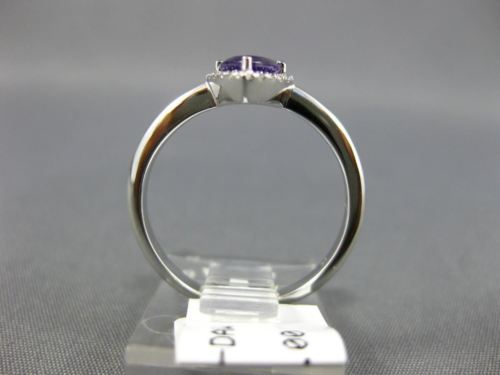 WIDE .70CT DIAMOND & AAA AMETHYST 14KT WHITE GOLD 3D CRISS CROSS COMPANION RING