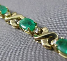 ANTIQUE 5.0CT DIAMOND & AAA EMERALD 14KT Y GOLD LOVE BRACELET STUNNING! #22382