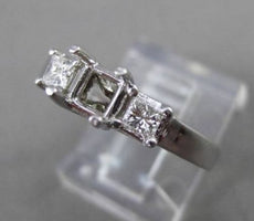 ESTATE .36CT DIAMOND 14KT WHITE GOLD 3 STONE SEMI MOUNT ENGAGEMENT RING #18608
