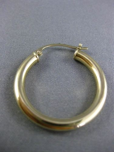ESTATE 14KT YELLOW GOLD CLASSIC HANGING HOOP EARRINGS 25mm X 3mm WIDE #25137