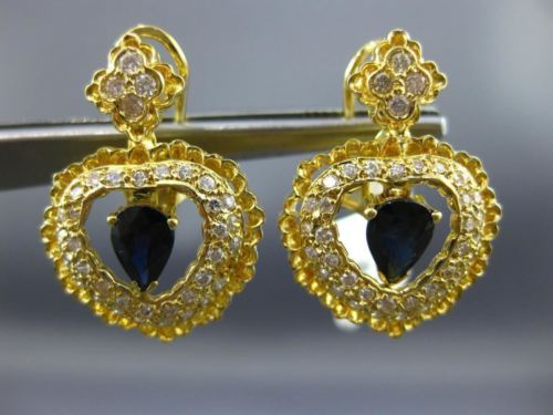 LARGE 2.45CT DIAMOND & AAA SAPPHIRE 14KT YELLOW GOLD HEART HALO HANGING EARRINGS