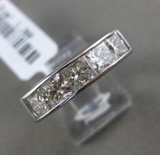 ESTATE 1.90CT DIAMOND 14KT WHITE GOLD 5 STONE PRINCESS CUT CHANNEL WEDDING RING