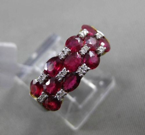 ESTATE WIDE 1.91CT DIAMOND & AAA RUBY 18KT TWO TONE GOLD ETOILE ANNIVERSAY RING