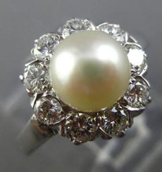 ESTATE WIDE .65CT DIAMOND & SOUTH SEA PEARL 14K WHITE GOLD ENGAGEMENT RING 25611