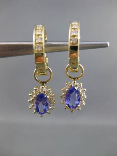 ESTATE 1.20CT DIAMOND & AAA TANZANITE 14KT YELLOW GOLD CLUSTER HANGING EARRINGS